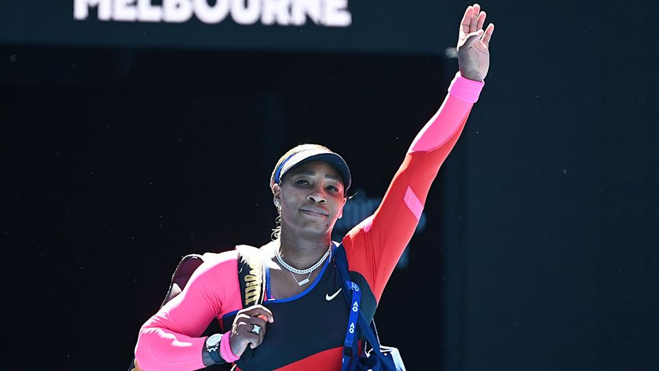 Pictured here, Serena Williams waves goodbye to fans at Melbourne Park on Thursday.