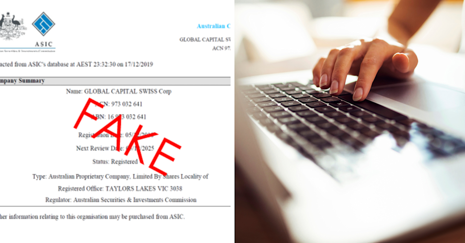 Example of a fake asic endorsement and a person using their laptop