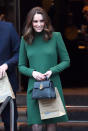 <p><strong>The occassion:</strong> At the Nobel Museum in Stokholm during day one of their Royal visit to Sweden and Norway.<br><strong>The look:</strong> A green shift dress by Catherine Walker with a new season Mulberry bag. <br>[Photo: Getty] </p>