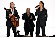 """<p>This superstar trio introduced """"FourFiveSeconds"""" on last year's Grammys. Despite that high-profile send-off, the song failed to land a Record or Song of the Year nom. It was also passed over for a nom for Best Pop Duo/Group Performance.<br></p><p>Credit: Kevin Mazur/WireImage</p>"""