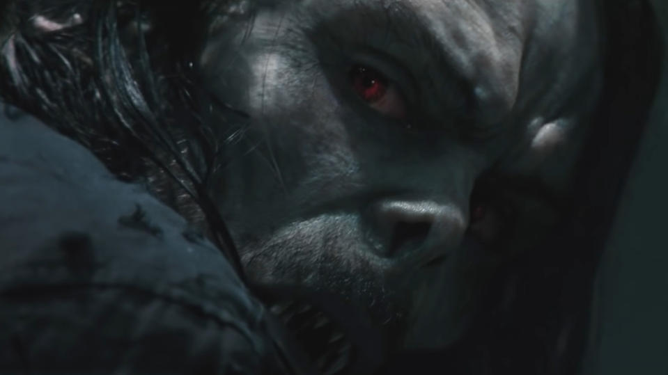 "Ahead of the return of Venom later in the summer, <em>Morbius</em> adds another wing to the growing universe of Sony movies existing around Spider-Man without ever featuring the webslinger. <a href=""https://uk.movies.yahoo.com/morbius-trailer-jared-leto-090748558.html"" data-ylk=""slk:Jared Leto is Michael Morbius;outcm:mb_qualified_link;_E:mb_qualified_link;ct:story;"" class=""link rapid-noclick-resp yahoo-link"">Jared Leto is Michael Morbius</a>, who inadvertently develops bloodlust when he tries to cure himself of a rare disease. A cameo in the trailer from <em>Spider-Man: Homecoming</em> star Michael Keaton has led many to suggest this movie could connect the Sony universe with the MCU in a much more concrete way. (Credit: Sony)"