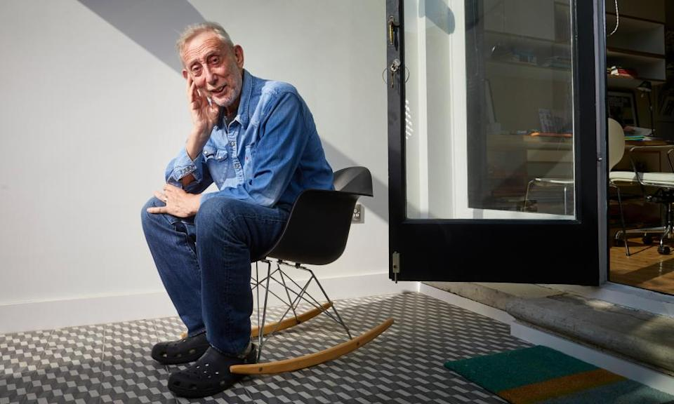 Michael Rosen at home, and not in bed.
