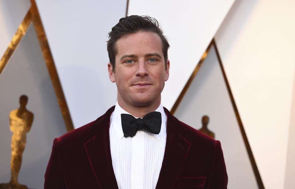 Armie Hammer arrives at the Oscars on Sunday, March 4, 2018, at the Dolby Theatre in Los Angeles. (Photo by Jordan Strauss/Invision/AP)