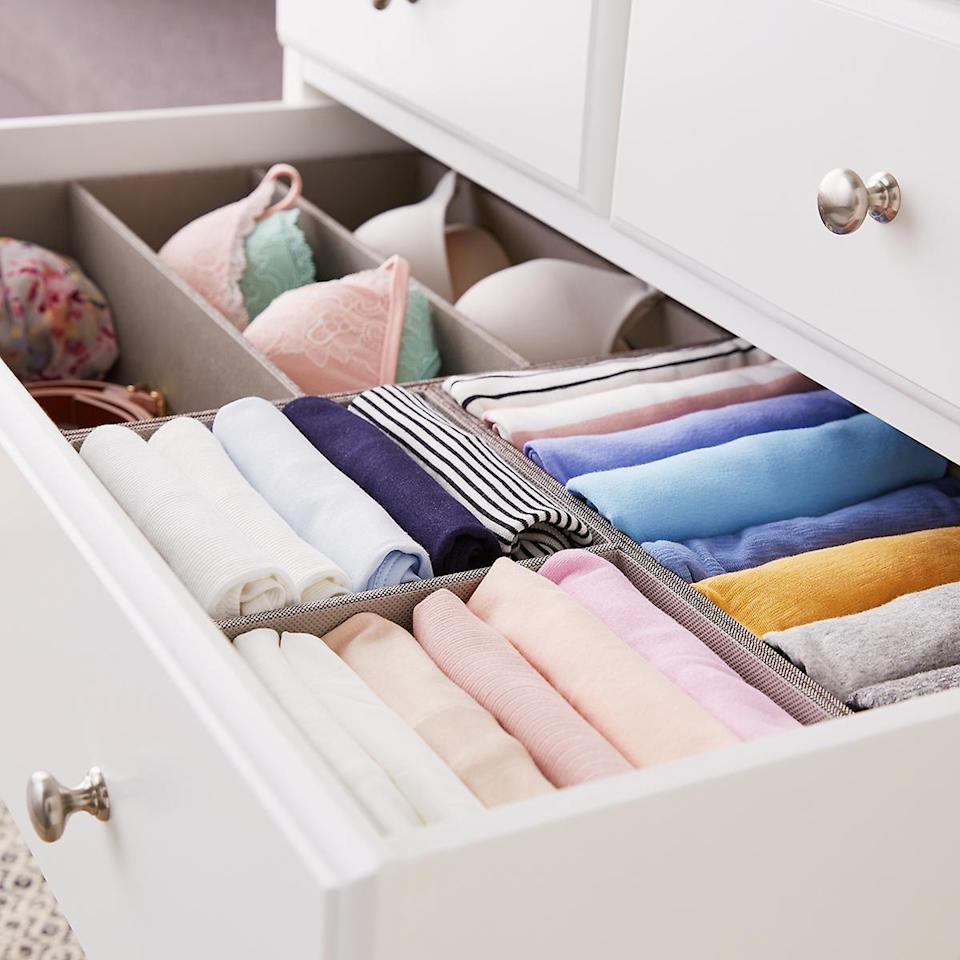 "<p>You'll never have messy drawers again with these <a href=""https://www.popsugar.com/buy/Grey-Drawer-Organizers-480436?p_name=Grey%20Drawer%20Organizers&retailer=containerstore.com&pid=480436&price=15&evar1=casa%3Aus&evar9=45654164&evar98=https%3A%2F%2Fwww.popsugar.com%2Fhome%2Fphoto-gallery%2F45654164%2Fimage%2F46673182%2FGrey-Drawer-Organizers&list1=shopping%2Corganization%2Chome%20organization%2Cbest%20of%202019&prop13=mobile&pdata=1"" class=""link rapid-noclick-resp"" rel=""nofollow noopener"" target=""_blank"" data-ylk=""slk:Grey Drawer Organizers"">Grey Drawer Organizers</a> ($15-$20).</p>"