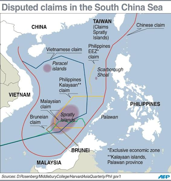 Graphic showing contending claims in the South China Sea