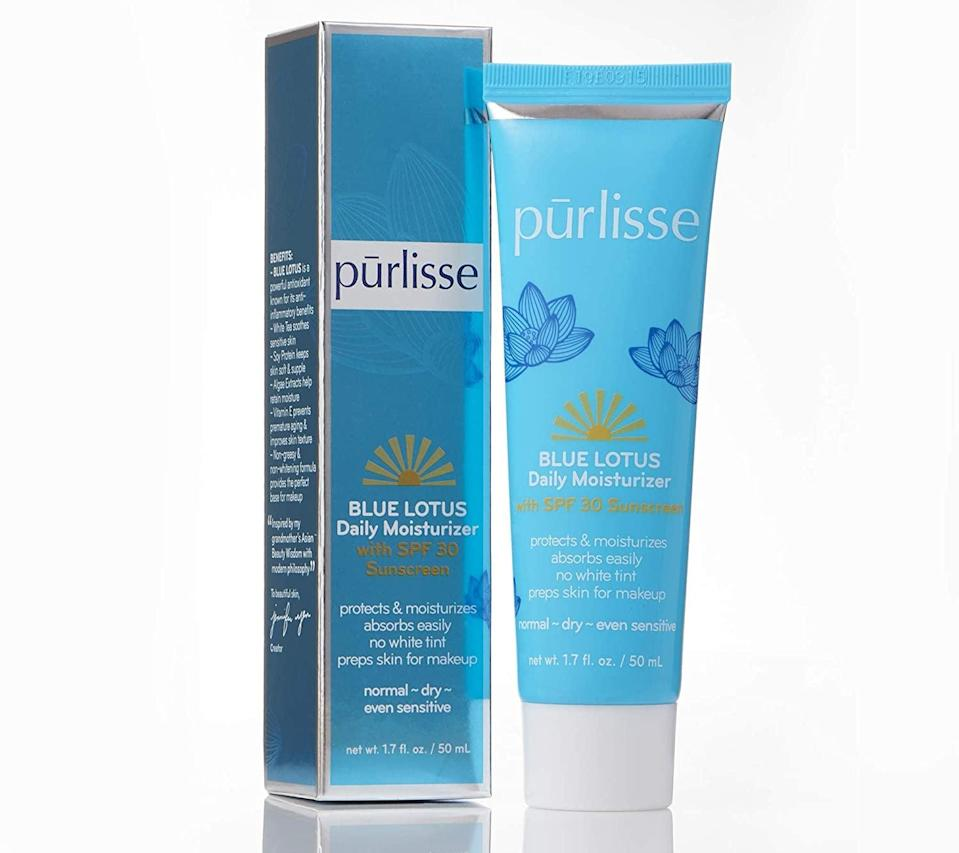 """<p>If you have sensitive skin, try the <a href=""""https://www.popsugar.com/buy/Purlisse-Blue-Lotus-Essential-Daily-Moisturizing-Face-Lotion-SPF-30-570185?p_name=Purlisse%20Blue%20Lotus%20Essential%20Daily%20Moisturizing%20Face%20Lotion%20With%20SPF%2030&retailer=amazon.com&pid=570185&price=48&evar1=bella%3Aus&evar9=46158385&evar98=https%3A%2F%2Fwww.popsugar.com%2Fbeauty%2Fphoto-gallery%2F46158385%2Fimage%2F47437627%2FPurlisse-Blue-Lotus-Essential-Daily-Moisturizing-Face-Lotion-With-SPF-30&list1=beauty%20products%2Cspf%2Csunscreen%2Cmoisturizer%2Csummer%20beauty%2Cface%20cream%2Cbeauty%20trends%2Cskin%20care&prop13=mobile&pdata=1"""" class=""""link rapid-noclick-resp"""" rel=""""nofollow noopener"""" target=""""_blank"""" data-ylk=""""slk:Purlisse Blue Lotus Essential Daily Moisturizing Face Lotion With SPF 30"""">Purlisse Blue Lotus Essential Daily Moisturizing Face Lotion With SPF 30</a> ($48). It helps soothe, balance, and hydrate the skin with natural plant-derived ingredients.</p>"""