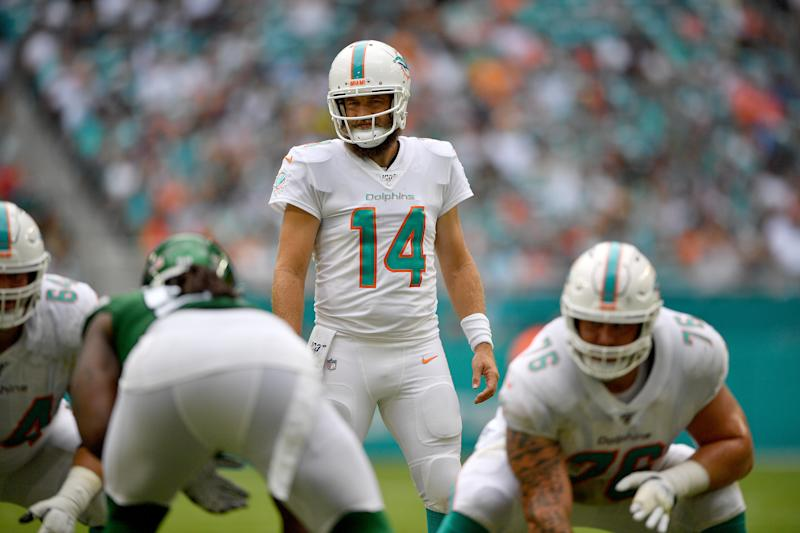 Ryan Fitzpatrick had a big first half, but the Dolphins QB also was involved in a weird safety. (Getty Images)