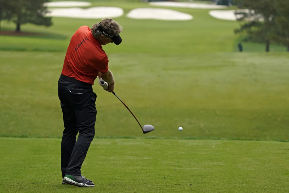 Bernhard Langer, of Germany, hits on the seventh tee during the first round of the Masters golf tournament Friday, Nov. 13, 2020, in Augusta, Ga. (AP Photo/Charlie Riedel)
