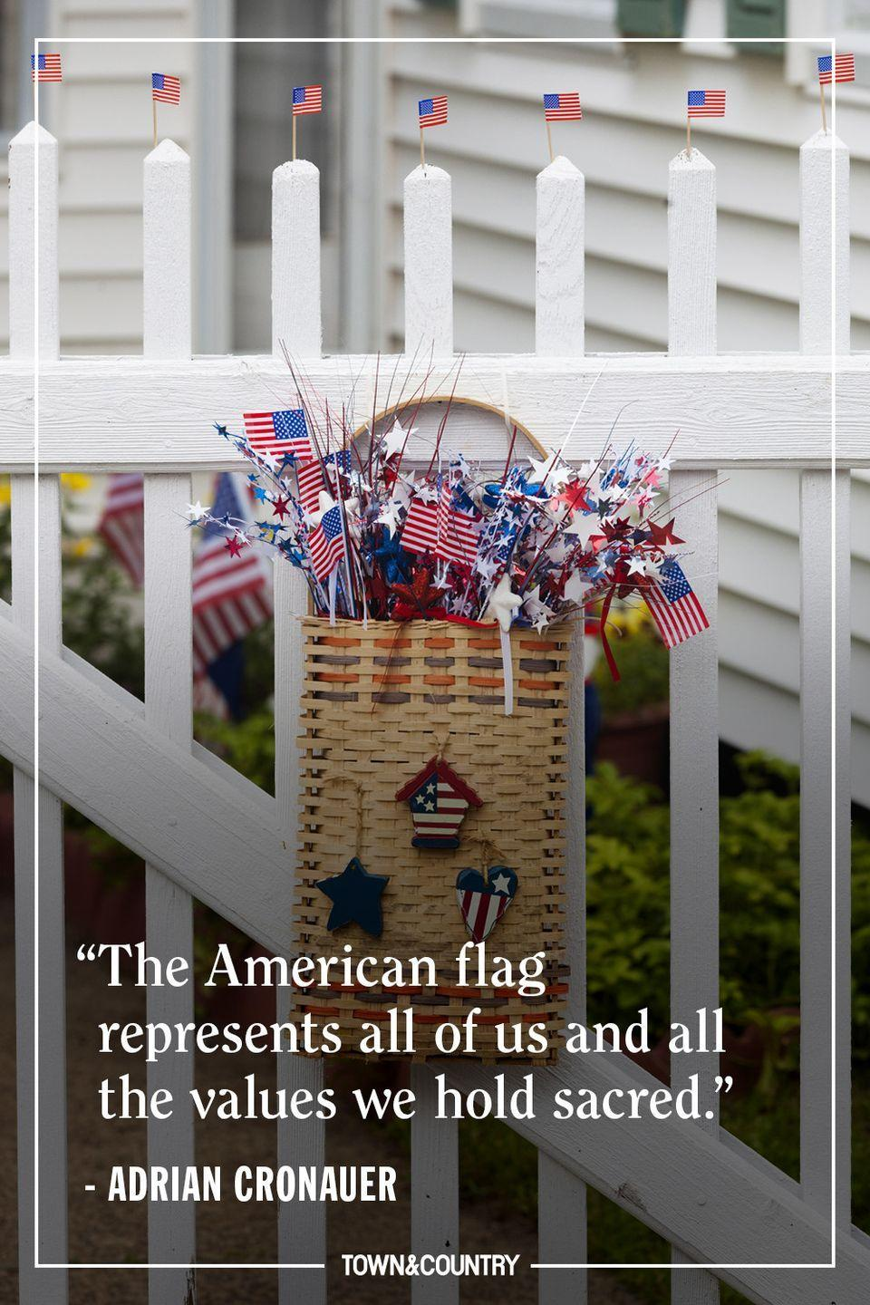 """<p>""""The American flag represents all of us and all the values we hold sacred."""" </p><p><em>— Adrian Cronauer</em></p>"""