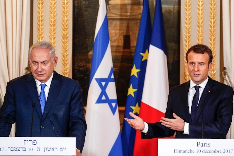"""French President Emmanuel Macron urged visiting Israeli Prime Minister Benjamin Netanyahu to """"show courage in his dealings with the Palestinians"""" after the controversy over the US decision to recognise Jerusalem as Israel's capital (AFP Photo/PHILIPPE WOJAZER)"""