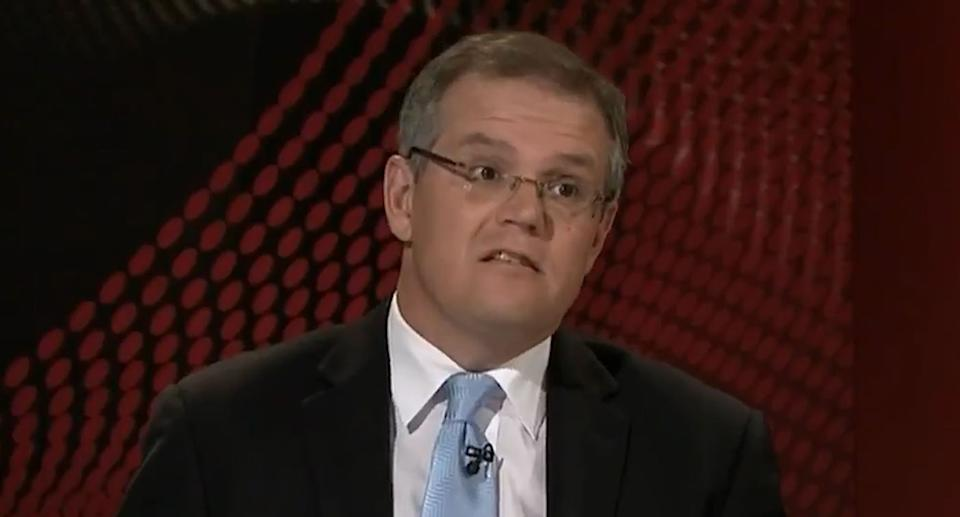 Pictures is Scott Morrison appearing on Q&A in 2010 giving his views on Christine Nixon's decision to go for dinner during the Black Saturday fires.