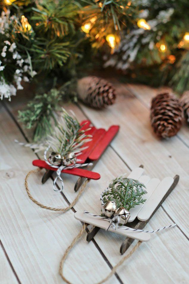 """<p>Oh, what fun it is to ride on these cute little popsicle sleighs!</p><p><strong>Get the tutorial at <a href=""""https://www.cleanandscentsible.com/handmade-christmas-ornaments-popsicle-stick-sleds/"""" rel=""""nofollow noopener"""" target=""""_blank"""" data-ylk=""""slk:Clean and Scentsible"""" class=""""link rapid-noclick-resp"""">Clean and Scentsible</a>. </strong></p>"""