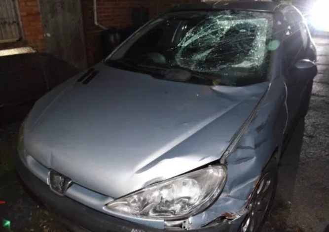 Collision: Matharu made off from the scene with significant damage to his car, including to the windscreen and one of the headlights. (Essex Police)