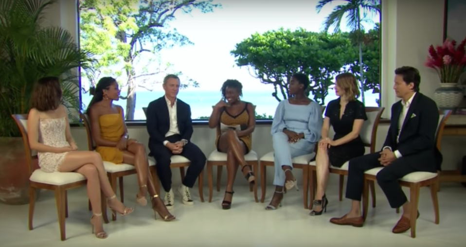 Clara Amfo is joined by the Bond 25 cast (credit: YouTube)