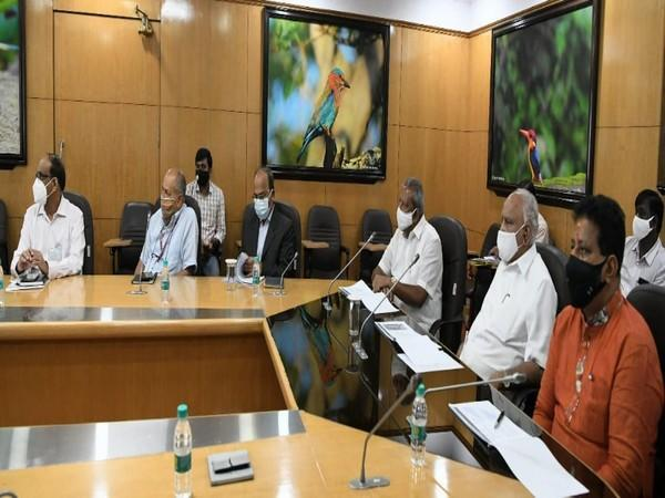 A visual from meeting of Chief Minister BS Yediyurappa with officials on Tuesday. (Photo/ANI)