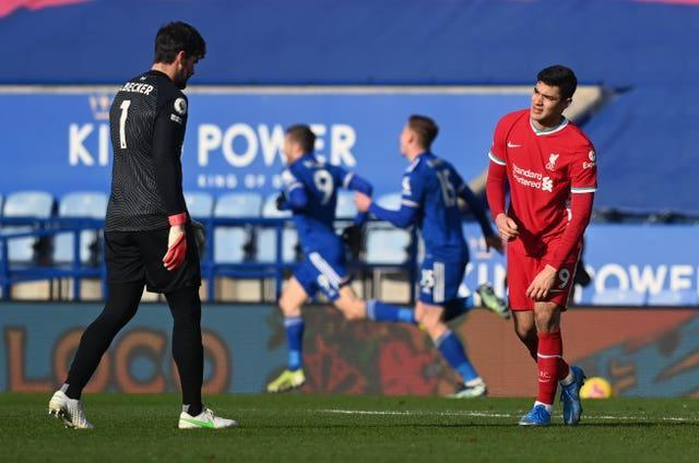 Kabak, right, and Alisson Becker were involved in a horrible mix-up at Leicester last weekend (Michael Regan/PA)