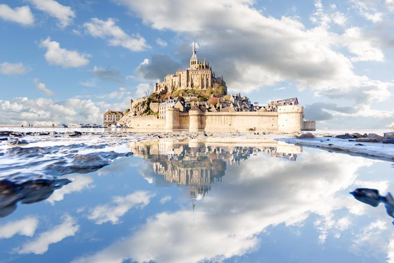 Mont Saint-Michel puddle mirrored