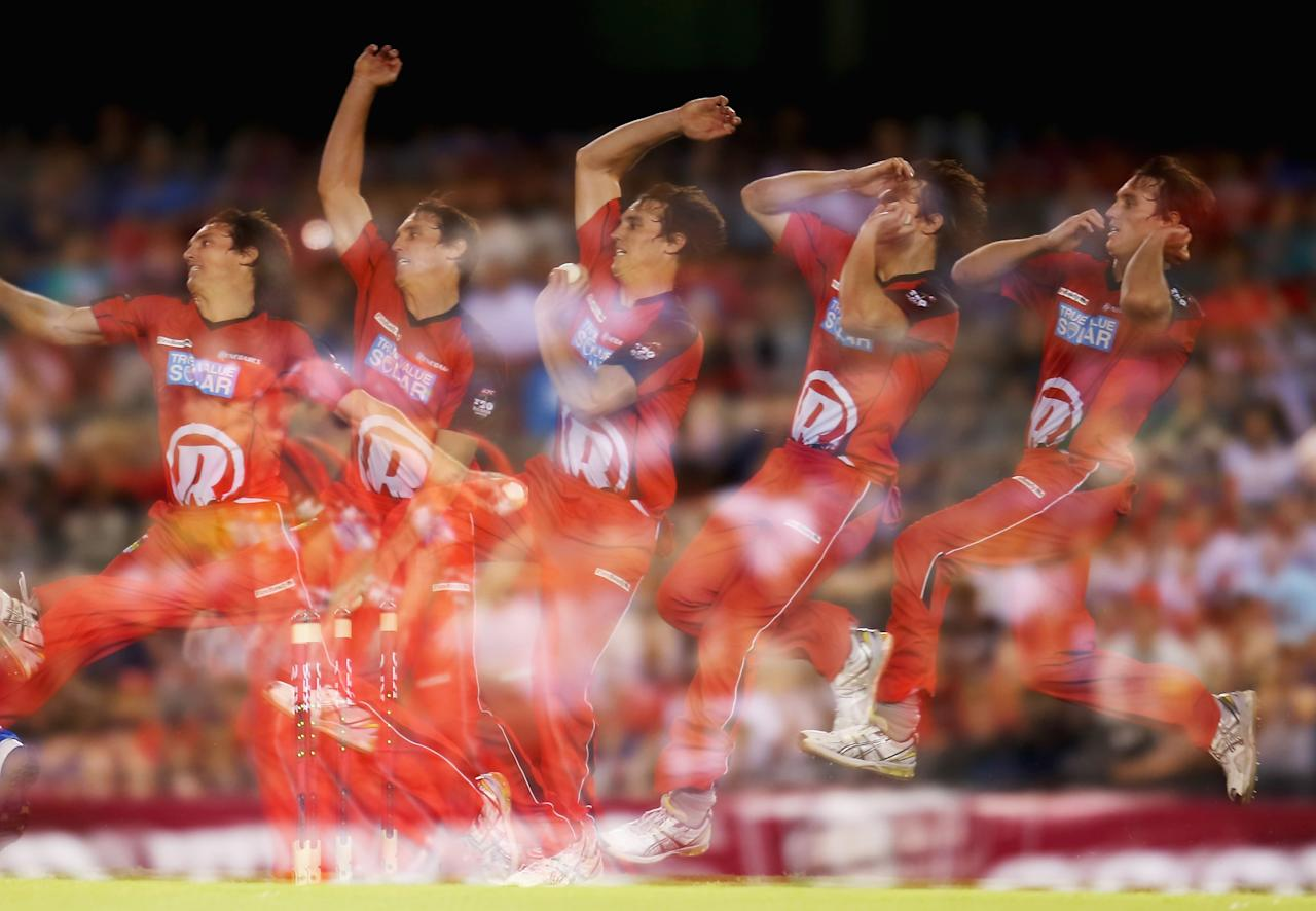 MELBOURNE, AUSTRALIA - JANUARY 02:  (EDITORS NOTE: Multiple exposures were combined in camera to produce this image.) William Sheridan of the Renegade bowls during the Big Bash League match between the Melbourne Renegades and the Adelaide Strikers at Etihad Stadium on January 2, 2013 in Melbourne, Australia.  (Photo by Scott Barbour/Getty Images)