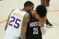 Houston Rockets center Christian Wood (35) looks away during the final seconds of second half of an NBA basketball game against the Phoenix Suns, Monday, April 12, 2021, in Phoenix. (AP Photo/Matt York)