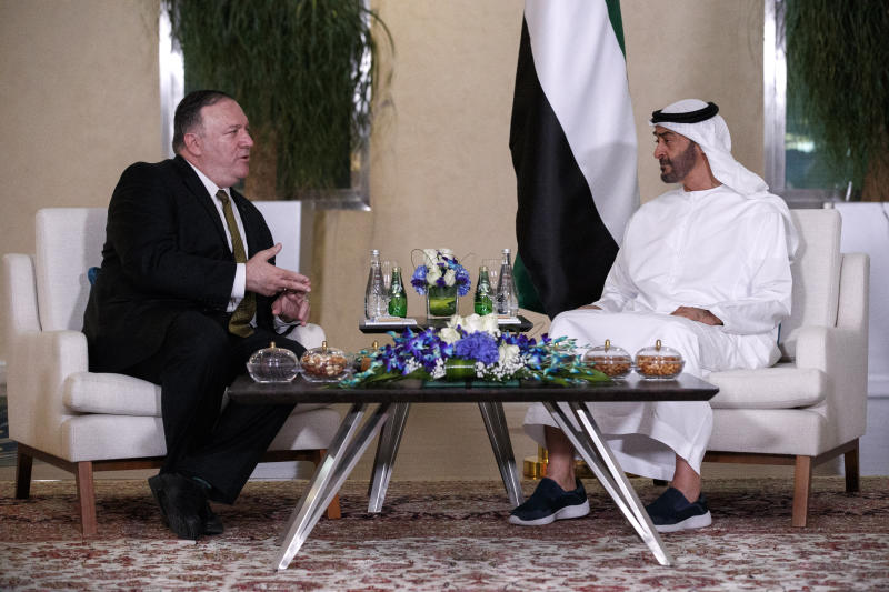 ADDS FULL NAME ND TITLE OF CROWN PRINCE -- Secretary of State Mike Pompeo, left, meets with Abu Dhabi Crown Prince Sheikh Mohammed bin Zayed Al Nahyan, Monday, June 24, 2019, in Abu Dhabi, United Arab Emirates. (AP Photo/Jacquelyn Martin, Pool)