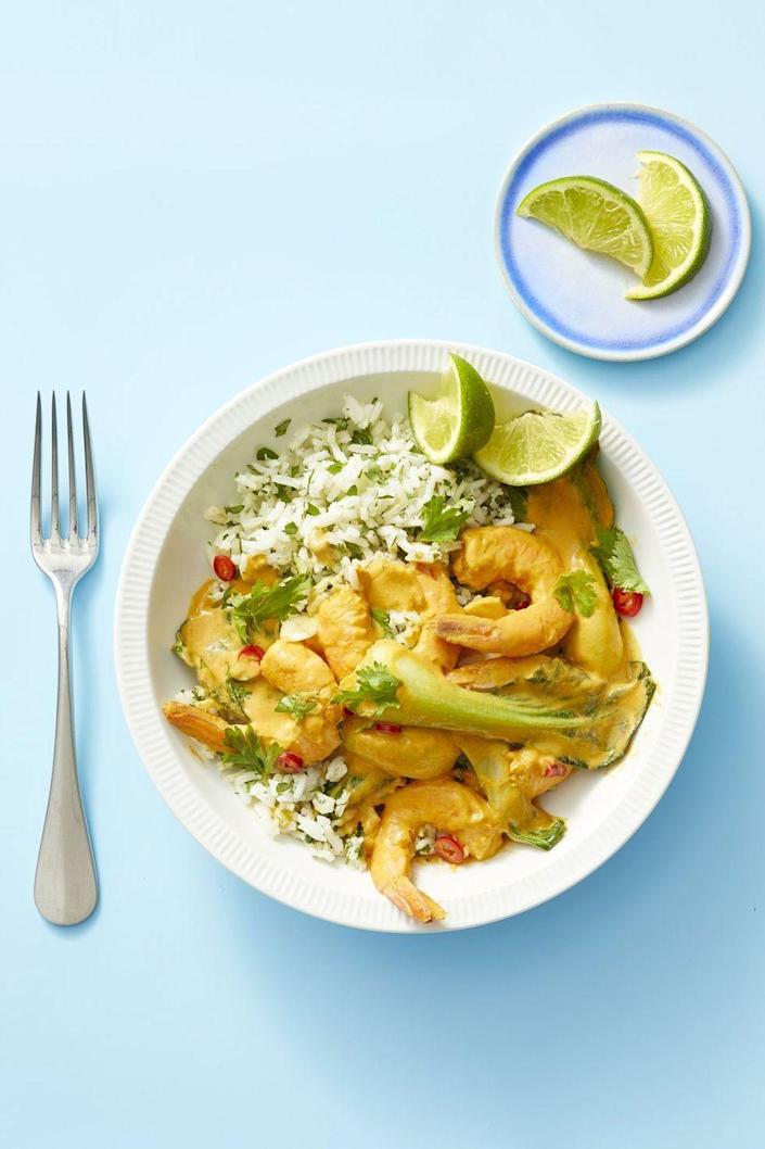 """<p>Curry paste and coconut milk come together in a hot pan for a fast curry base — almost as fast as you'll sear fresh shrimp in the same pan.<a href=""""https://www.goodhousekeeping.com/food-recipes/easy/a23694252/red-curry-shrimp-and-cilantro-rice-recipe/"""" rel=""""nofollow noopener"""" target=""""_blank"""" data-ylk=""""slk:"""" class=""""link rapid-noclick-resp""""><br></a></p><p><a href=""""https://www.goodhousekeeping.com/food-recipes/easy/a23694252/red-curry-shrimp-and-cilantro-rice-recipe/"""" rel=""""nofollow noopener"""" target=""""_blank"""" data-ylk=""""slk:Get the recipe for Red Curry Shrimp and Cilantro Rice »"""" class=""""link rapid-noclick-resp""""><em>Get the recipe for Red Curry Shrimp and Cilantro Rice »</em> </a></p>"""