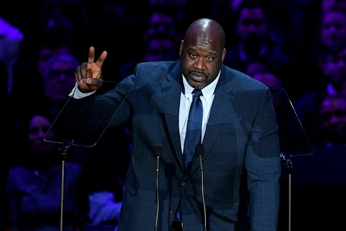 <p>Shaquille O'Neal speaks during The Celebration of Life for Kobe & Gianna Bryant at Staples Center on February 24, 2020 in Los Angeles, California.</p> (Photo by Kevork Djansezian/Getty Images)