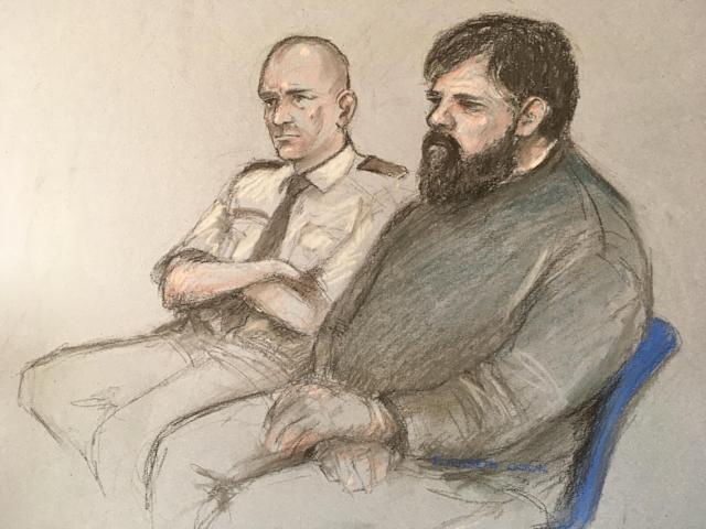 An artist sketch of Carl Beech, known as Nick, at Newcastle Crown Court. Beech was arrested in July after making false claims about prominent public figures. (PA)