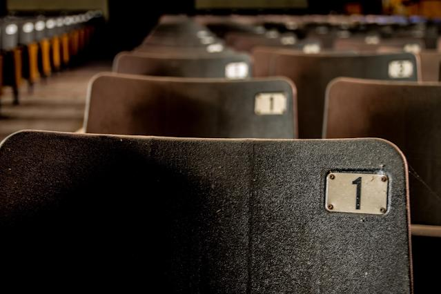 <p>A close-up view of seats in the auditorium. (Photo: Leland Kent/Caters News) </p>