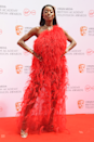 <p>AJ Odudu looks a million bucks in this candy apple red feather situation.</p>