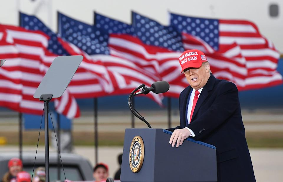 President Donald Trump speaks during a rally at Muskegon County Airport in Muskegon, Michigan on October 17, 2020.