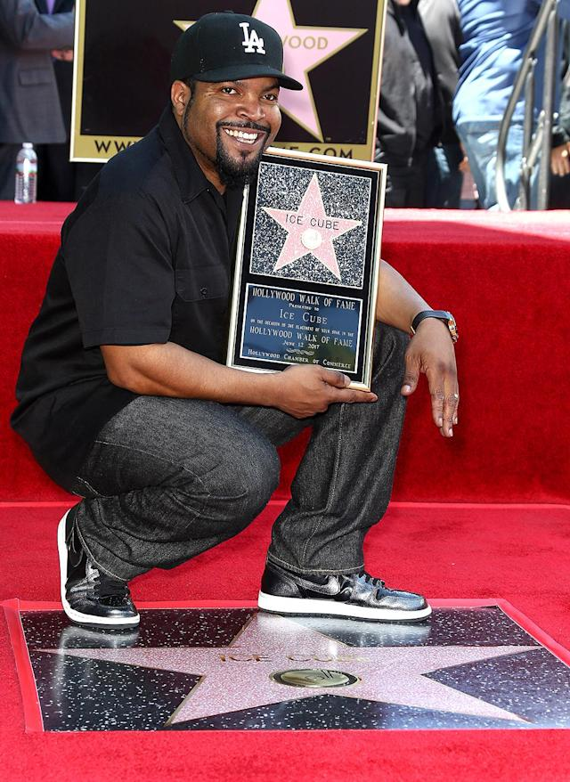 """<p>It was a very good day for the rapper and actor Monday as he received a star on the Hollywood Walk of Fame. """"I walked through Hollywood as a kid, trying to catch a bus to the Valley on my way to football practice,"""" Cube recalled to <i>Variety</i> ahead of the ceremony. """"Now I'm <a href=""""http://variety.com/2017/music/features/ice-cube-walk-of-fame-death-certificate-friday-1202461222/"""" rel=""""nofollow noopener"""" target=""""_blank"""" data-ylk=""""slk:gonna have a star there"""" class=""""link rapid-noclick-resp"""">gonna have a star there</a>, and some kid like me, on his way to practice or whatever, is gonna see my name down there, and have hopes and dreams of getting theirs down there too."""" (Photo: Tommaso Boddi/WireImage) </p>"""