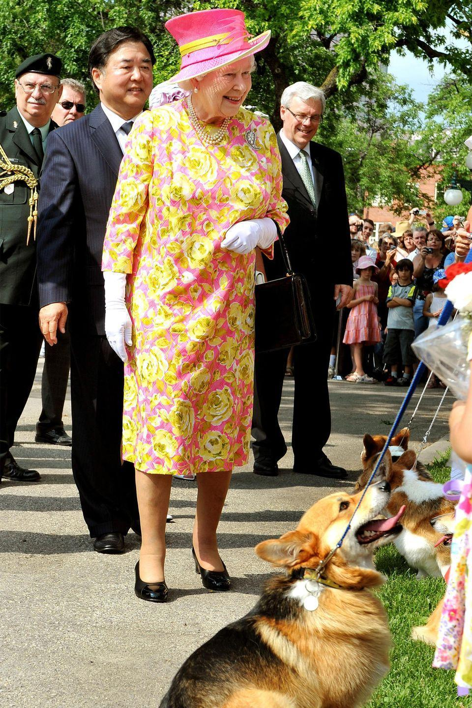 <p>The queen adores her pets, especially corgis, so it's no surprise she chatted with corgi dog owners when she left the Government House in Winnipeg, Canada. Naturally, Queen Elizabeth wore a vibrant floral printed dress, matching hat, a pearl necklace, and white gloves for the visit. <br></p>