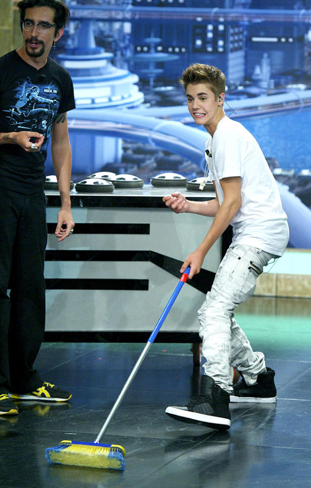 "As usual, the Spanish TV show ""El Hormiguero"" got a celeb to get goofy. On Monday, it was Justin Bieber, who had a jam-packed appearance at the show's Madrid studios, where he tried his hand at broom curling, rode a Segway, showed off some dance moves, and sat in a bizarre chair made of leaf blowers and a fire extinguisher. As usual, the show makes Letterman and Leno look downright boring. (6/4/2012)"