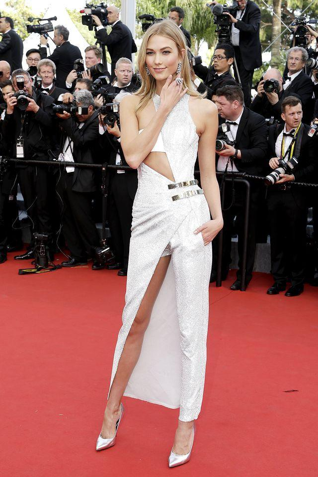 <p>Peekaboo! Considering the model stands at 6-foot-2, she showed off a lot of leg at Cannes in 2015. But she's a pro, so she was able to keep things PG with just enough coverage. (Photo: AP Photo/Thibault Camus) </p>