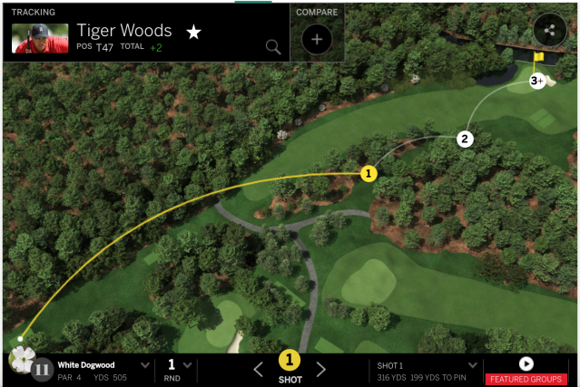 Tiger Woods was all over the place on Hole 11. (Masters.com)