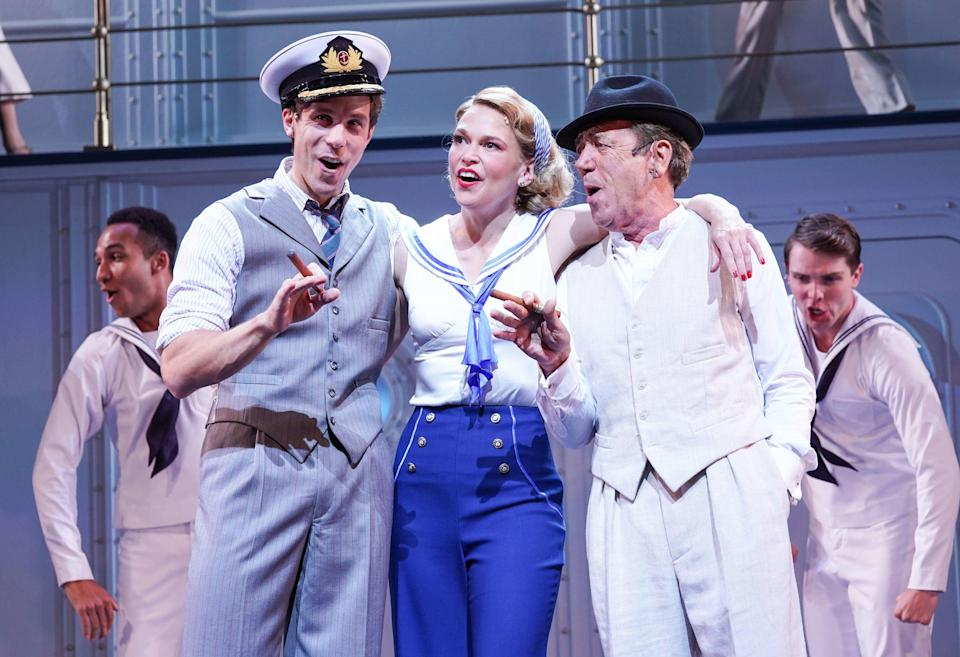 Samuel Edwards, Sutton Foster and Robert Lindsay in Anything Goes (PA)