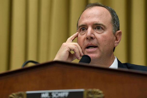 PHOTO: House Intelligence Committee Chairman Adam Schiff speaks during a hearing with former special counsel Robert Mueller on Capitol Hill in Washington, D.C., July 24, 2019. (Susan Walsh/AP)