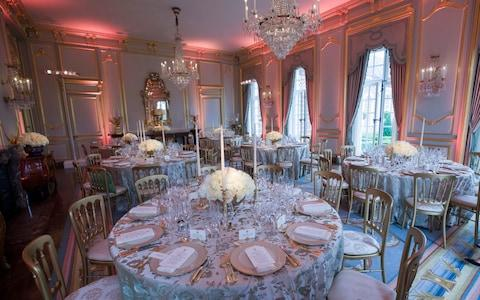 The dining room is set for a dinner for President Donald Trump, first lady Melania Trump, Prince Charles, and Camilla, Duchess of Cornwall, at the U.S. ambassador's residence - Credit: AP Photo/Alex Brandon