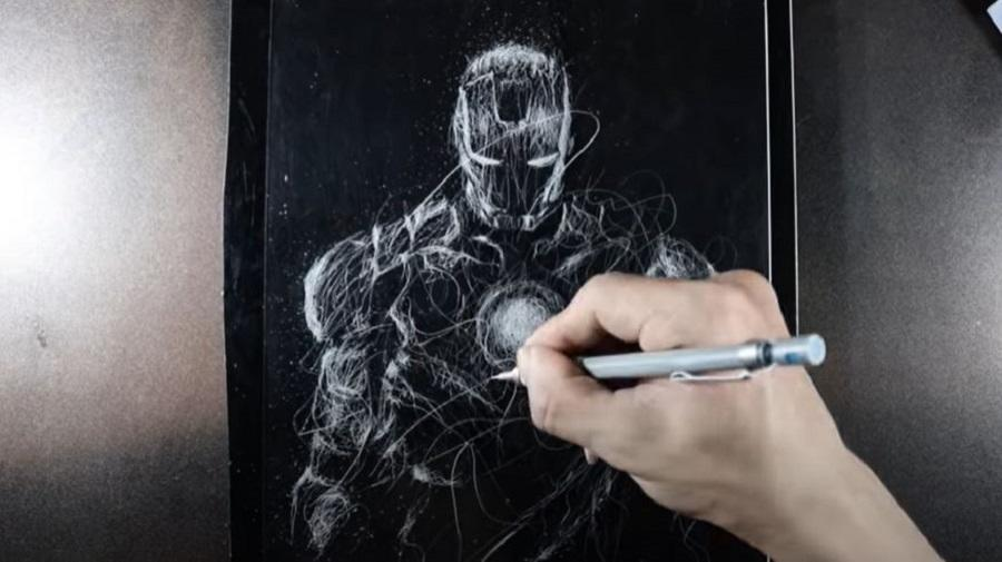 dP Art Drawing's YouTube channel features a drawing of Iron Man done with an iron pen.