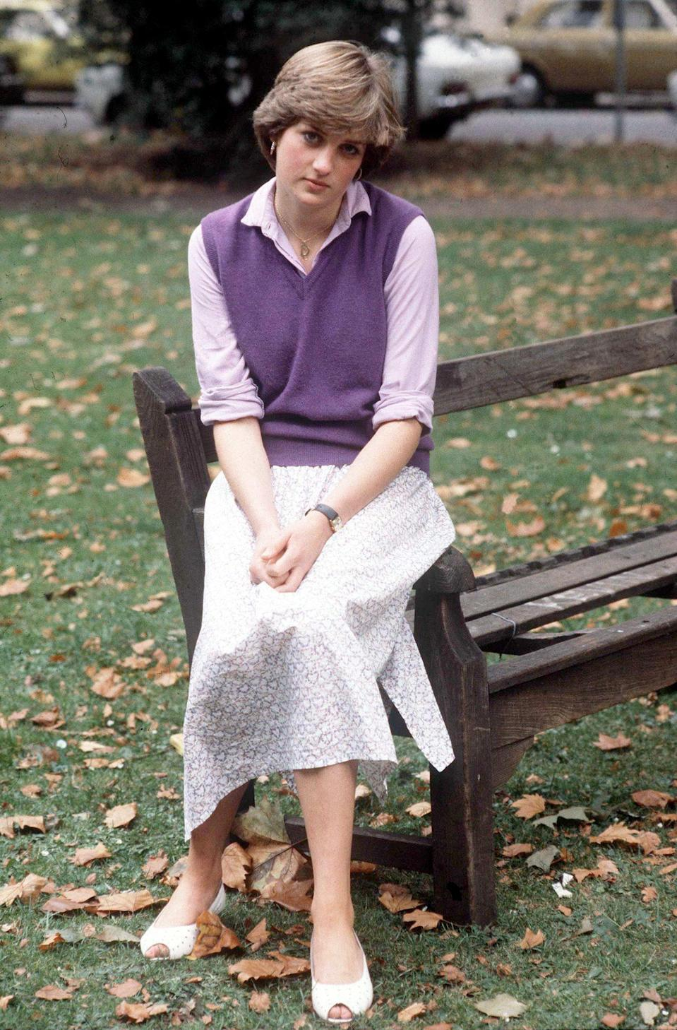 <p>Before Diana married Prince Charles, sweaters (like this purple sweater vest) were a part of her wardrobe as a kindergarten assistant.</p>