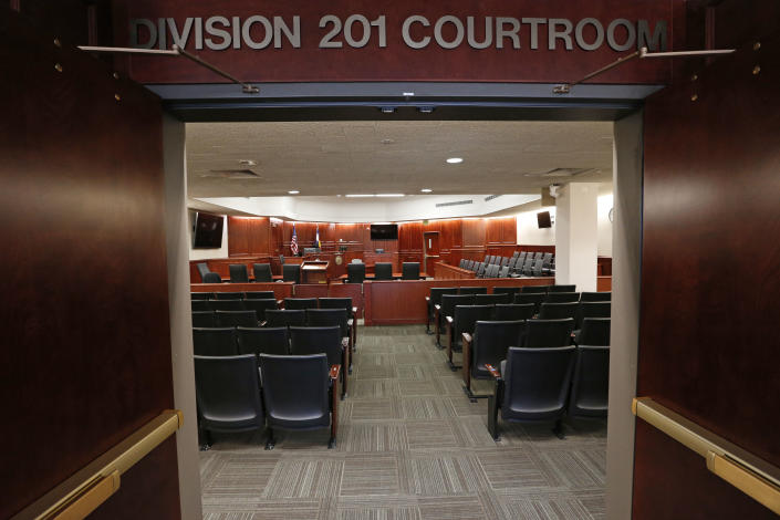 A view inside Courtroom 201 where the Colorado theater shooting trial will take place this year. (AP Photo/Brennan Linsley, Pool)