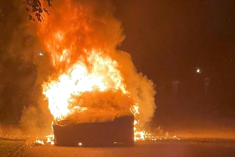 This handout image released by law firm Geragos & Geragos shows a Tesla Model S Plaid in flames in a suburb of Philadelphia, Pennsylvania, on June 29, 2021