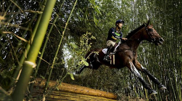 <p>Astier Nicolas of France in action during Individual Eventing Cross Country at the Olympic Equestrian Center in Rio de Janeiro, Brazil.</p>