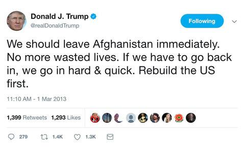 Donald Trump's years of tweets calling for U.S. to leave Afghanistan