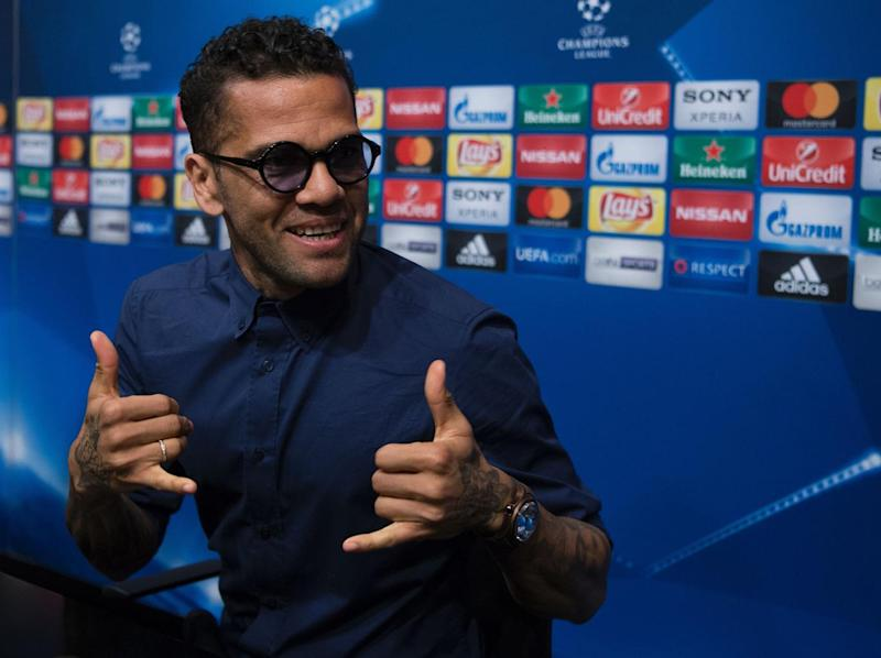 Alves speaking to the media ahead of the match (AFP/Getty)