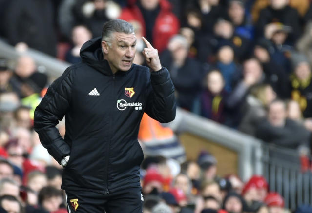 Watford's head coach Nigel Pearson gestures during the English Premier League soccer match between Liverpool and Watford at Anfield stadium in Liverpool, England, Saturday, Dec. 14, 2019. (AP Photo/Rui Vieira)