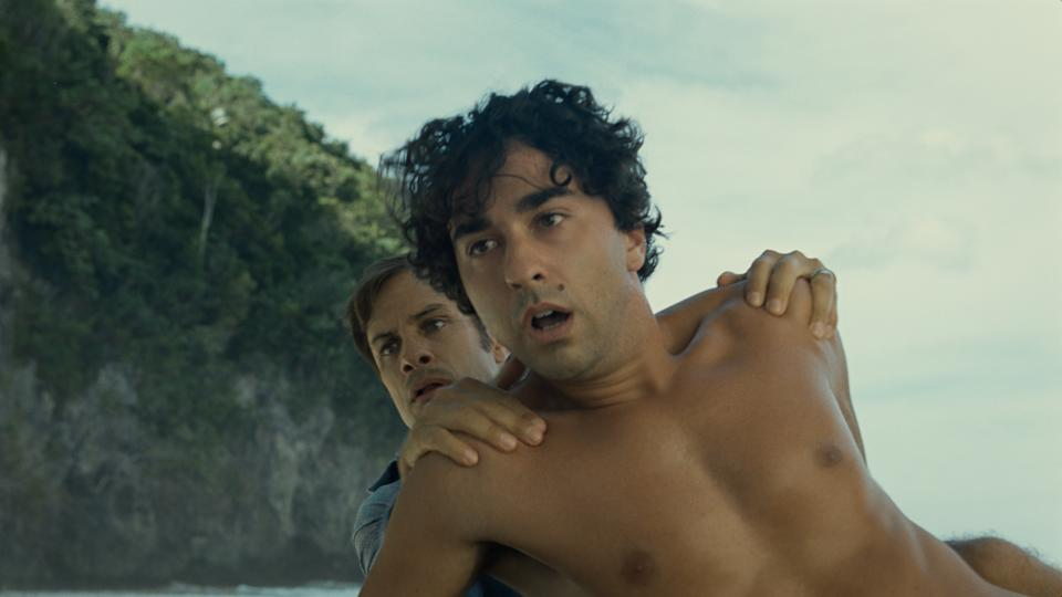 (from left) Guy (Gael García Bernal) and Trent (Alex Wolff) in Old, written for the screen and directed by M. Night Shyamalan.