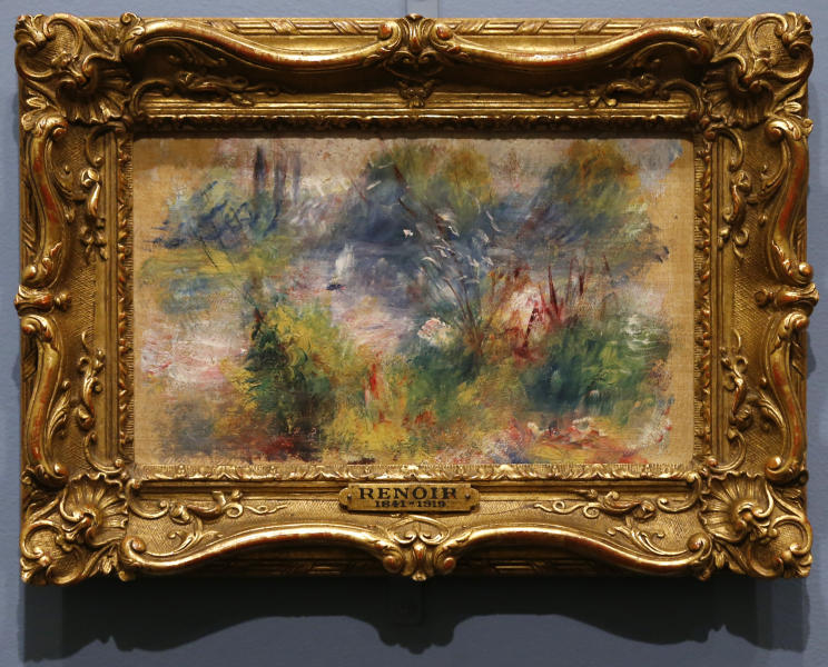 "Pierre-Auguste Renoir's painting ""On the Shore of the Seine"" hangs at the Baltimore Museum of Art in Baltimore, Thursday, March 27, 2014, more than 60 years after it was stolen from the museum. The painting became the subject of a dramatic legal dispute after a Virginia woman claimed she bought it at a flea market for $7. A judge ultimately awarded ownership back to the Baltimore museum, and it is scheduled to go on public display March 30. (AP Photo/Patrick Semansky)"