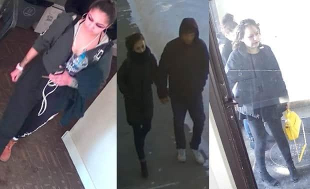 Police are asking anyone with information about the people in these photographs to call the Saskatoon Police Service or Crime Stoppers. (Saskatoon Police Service - image credit)
