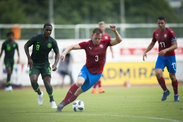 Tomas Kalas (on the ball) scored the only goal for the Czech Republic against Nigeria